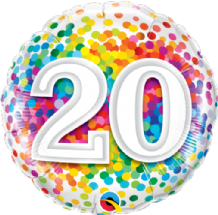 "20 Rainbow Confetti Foil Balloon (18"") 1pc"